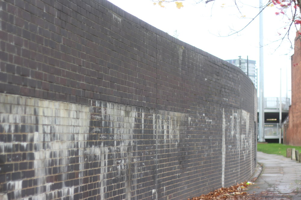 We chose this seemingly nondescript section of the wall as the setting for our first film.