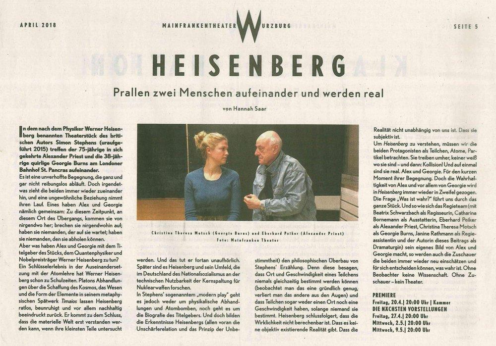 Ankündigungstext von Hannah Saar zu  Heisenberg  aus der Zeitschrift FOYER des Mainfranken Theaters, 04/2018
