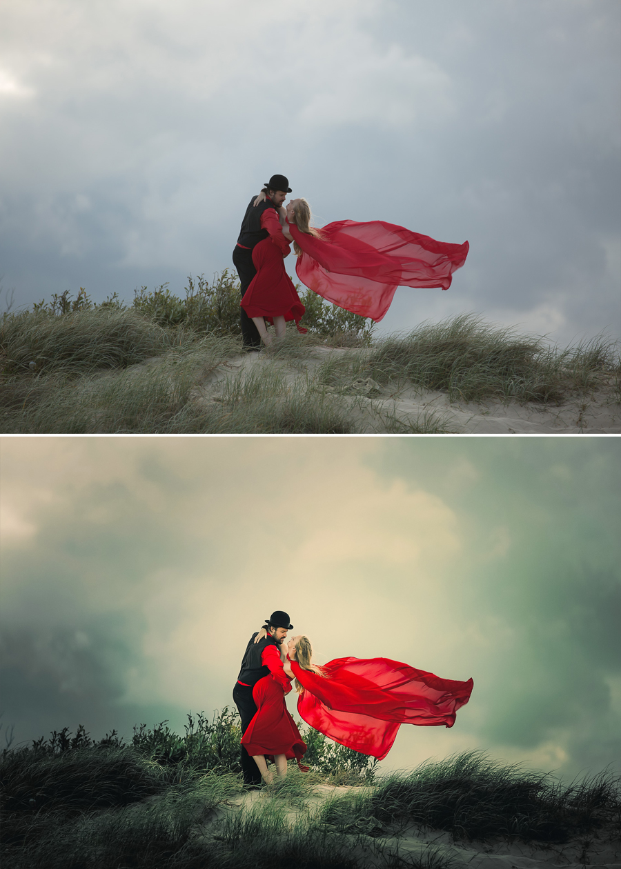 Before and After - Couple & Maternity Shoot, Piers & Riana.  One photo like this can take me over an hour to edit.