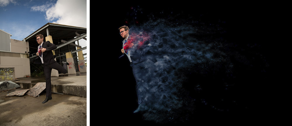Before and After - Dylan Swansson - Superman series. This one photo took many hours over a number of days to process.