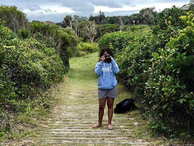 This can't be good...she has my camera. 😲📷 . . #ivecreatedamonster #likemotherlikedaughter #camerabug #photographybug #beachholidays #familyholidays #campingholidays #northernnsw #headlandswalk #yuragirnationalpark #buddingphotographer