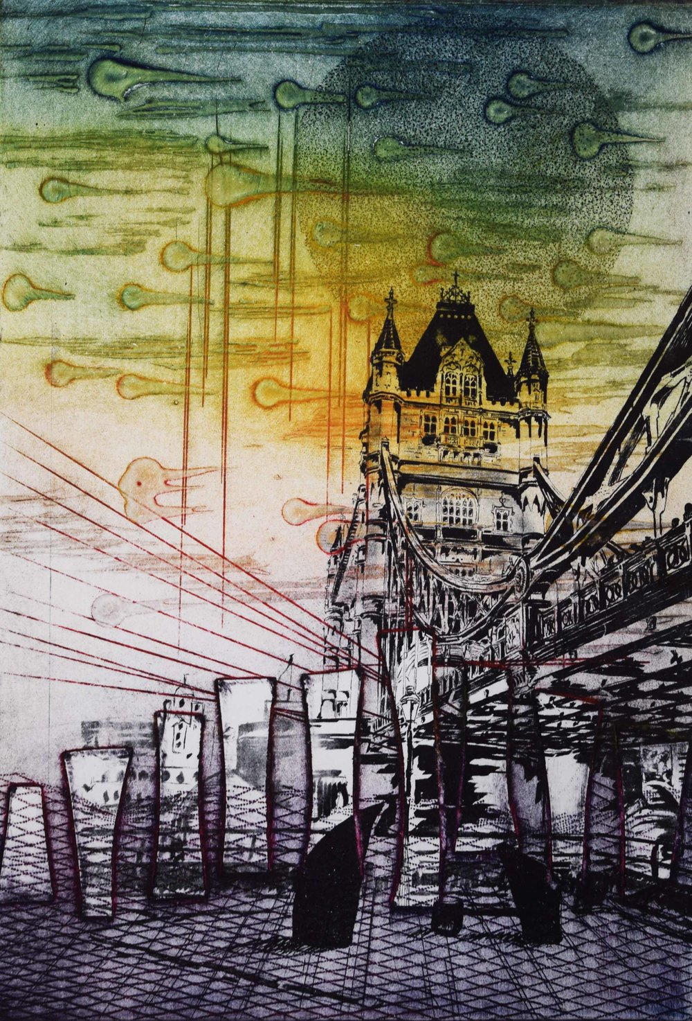 Tower Bridge. Collograph and polyester plate. 50 x 40 cm