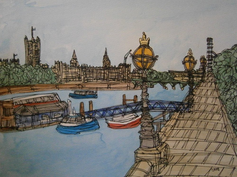 Jonathan Gray    Boats by Westminster, 2016. Watercolour and fine liner on cartridge paper. 43 x 33 cm. £225.00 (framed)