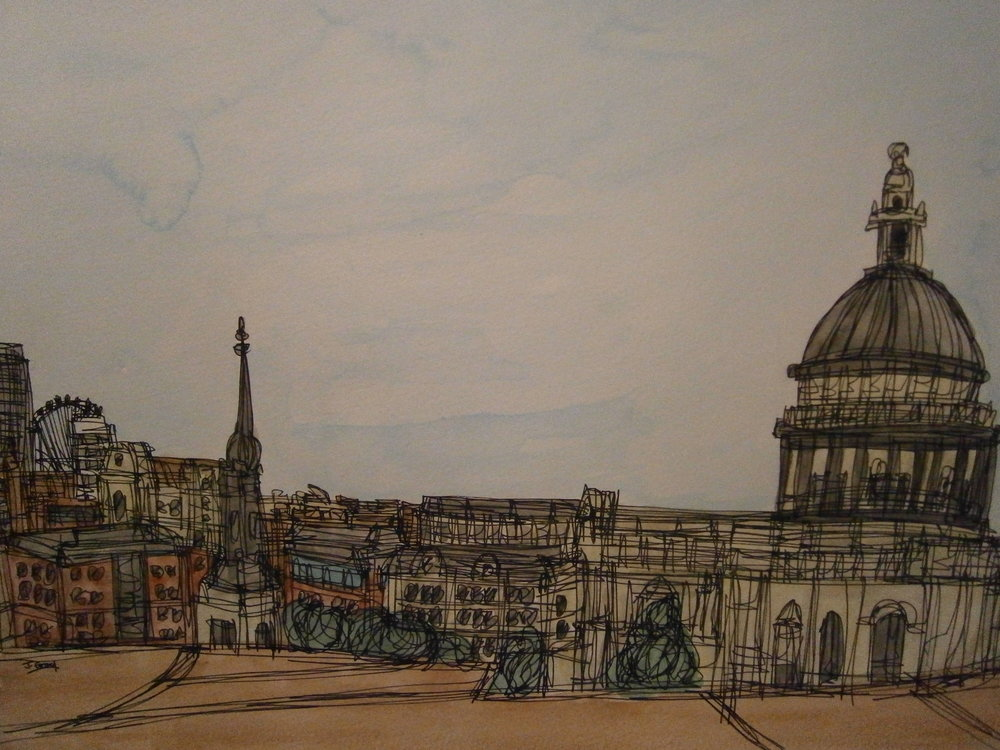 Jonathan Gray   Looking Over London, 2016. Watercolour and fine liner on cartridge paper. 50 x 40 cm. £245.00 (framed)