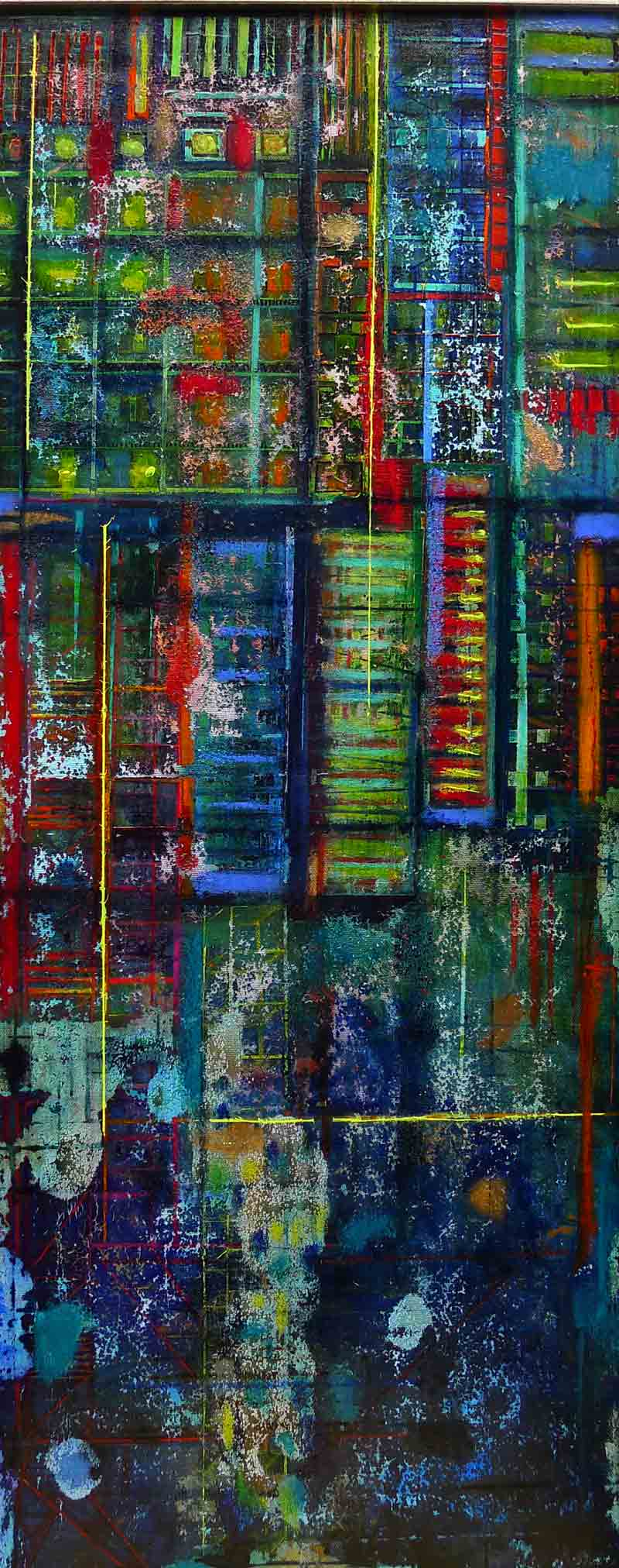 Laurence Causse-Parsley    Urban Mirror II, 2016. Mixed media on canvas. 39 x 95 cm. £1495  .00