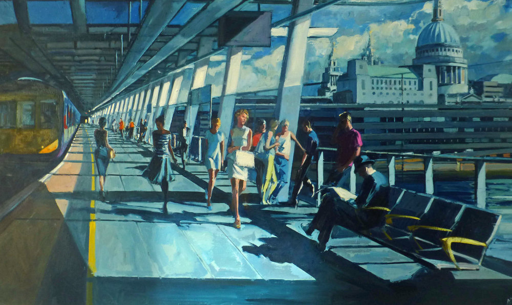 Mark Pearson   Platform One, Blackfriars Station, 2014. 154 x 93 cm. Oil on canvas. £5950.00 (framed)