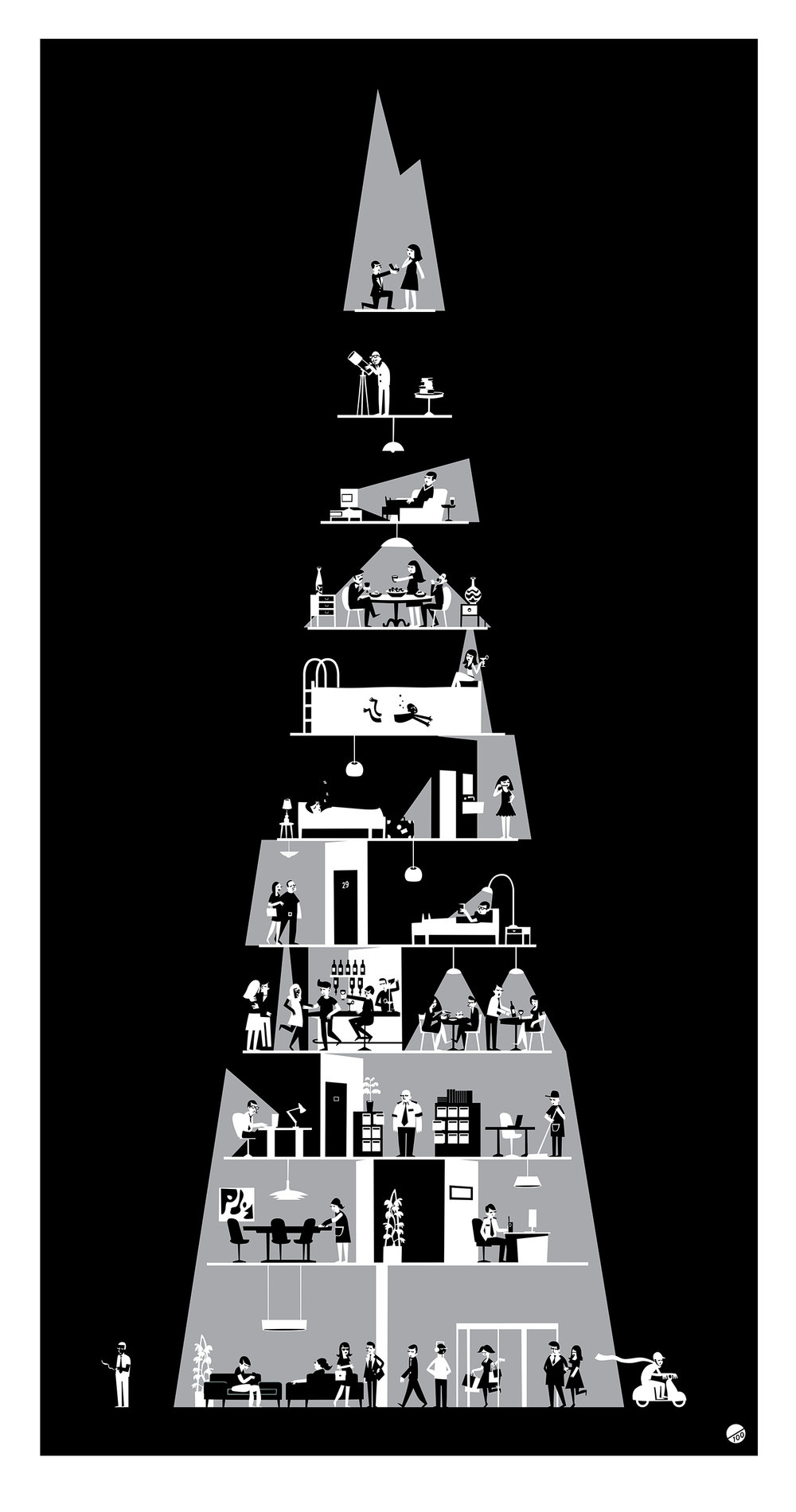 Paul McBride    Shard Night, 2016. Limited edition screen print. Edition of 100. 50 x 95 cm. £230.00 (framed).   £130.00 (unframed)