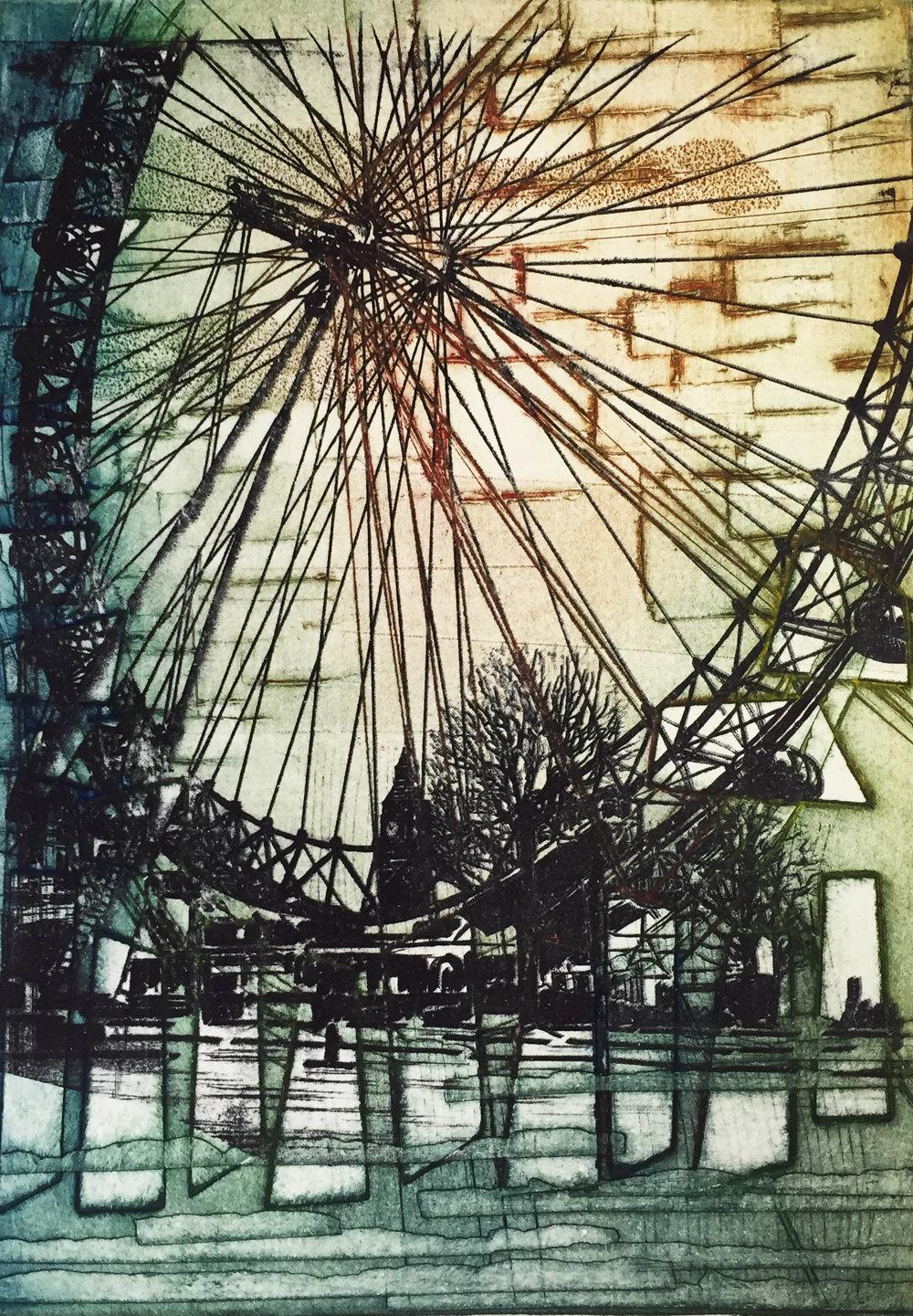 Alexandra Sivov My Dear Eye, 2016.Collograph & polyester plate.50 x 40 cm £195.00 (framed).