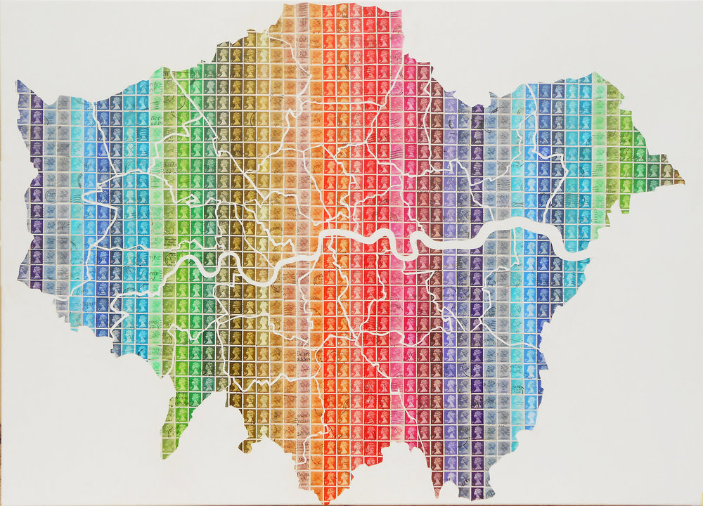Gary Hogben   London, 2015. Stamps on canvas.102 x 72 cm. £1500.00