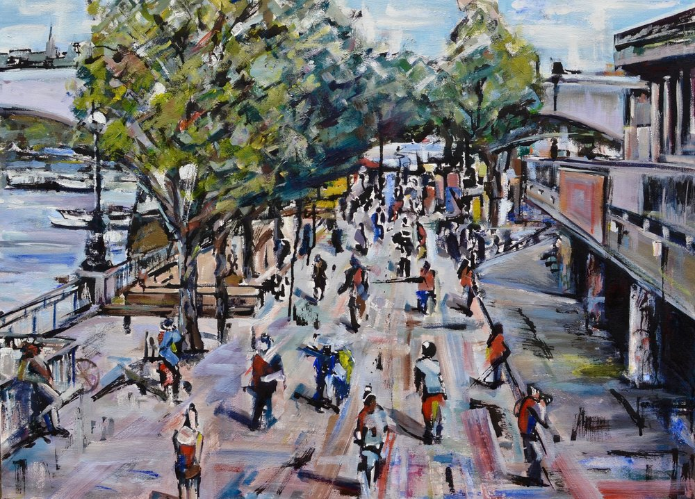 Tom Cox   Southbank, 2016. Oil and Indian ink on canvas. 90 x 65 cm. £2250.00
