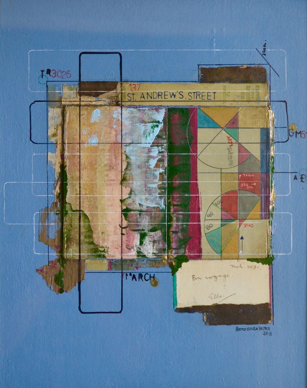 Pedo Sousa Louro    Bon Voyage, 2016. Mixed media and collage with an old book from1931 on canvas board. 32 x 42cm. £650.00 (framed)