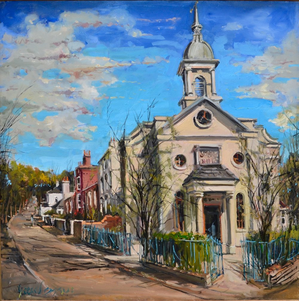 Gerard Byrne   St Johns  at Hampstead, 2016. Oil on canvas. 80 x 80 cm. £1395.00 (framed).   Artist's profit goes to  Future Nepal  - a charity organised by Amelia Henriot in the wake of the 2015 Nepal earthquake.
