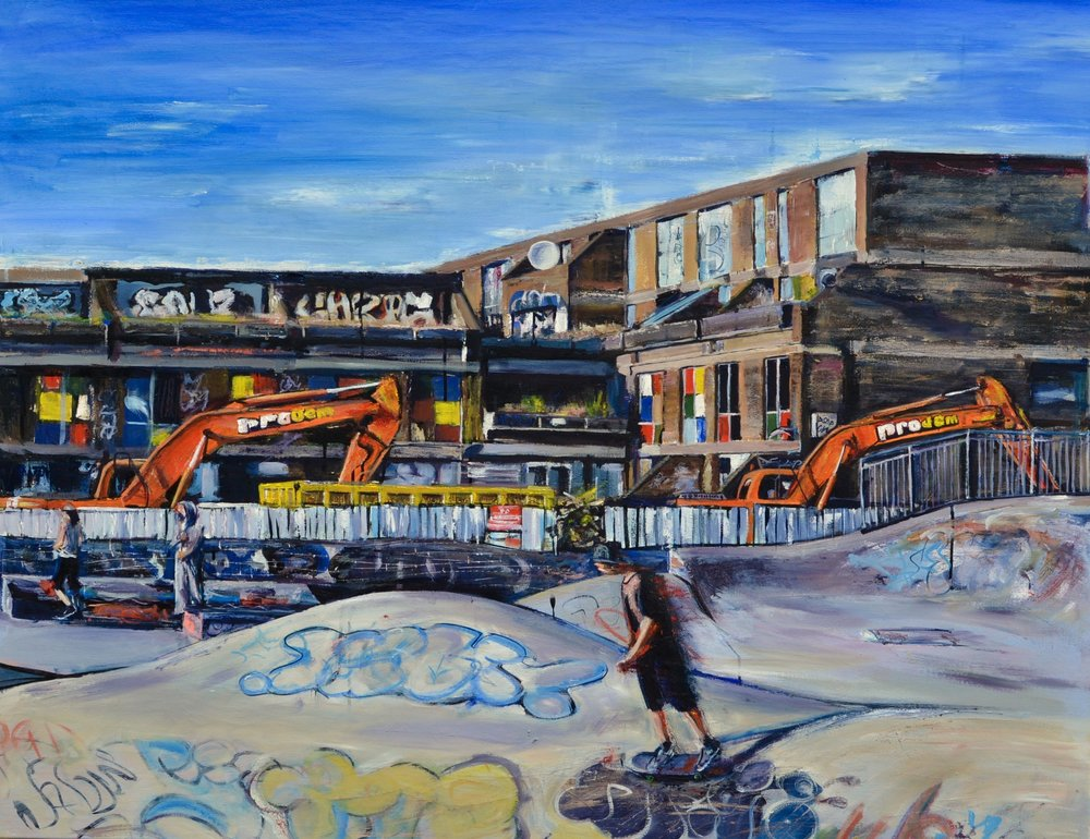 Tom Cox (work in progress)   Brixton Bowls, 2016. Oil and Indian ink on canvas. 120 x 100 cm.. £3250.00
