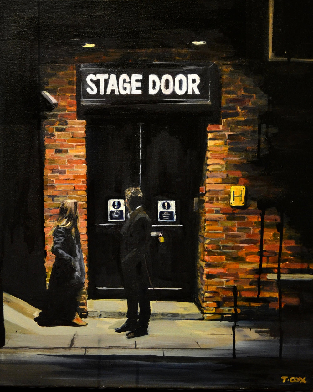 Stage Door, 2015. Ink and oil on canvas. Sold to private collectors in Seattle, USA.