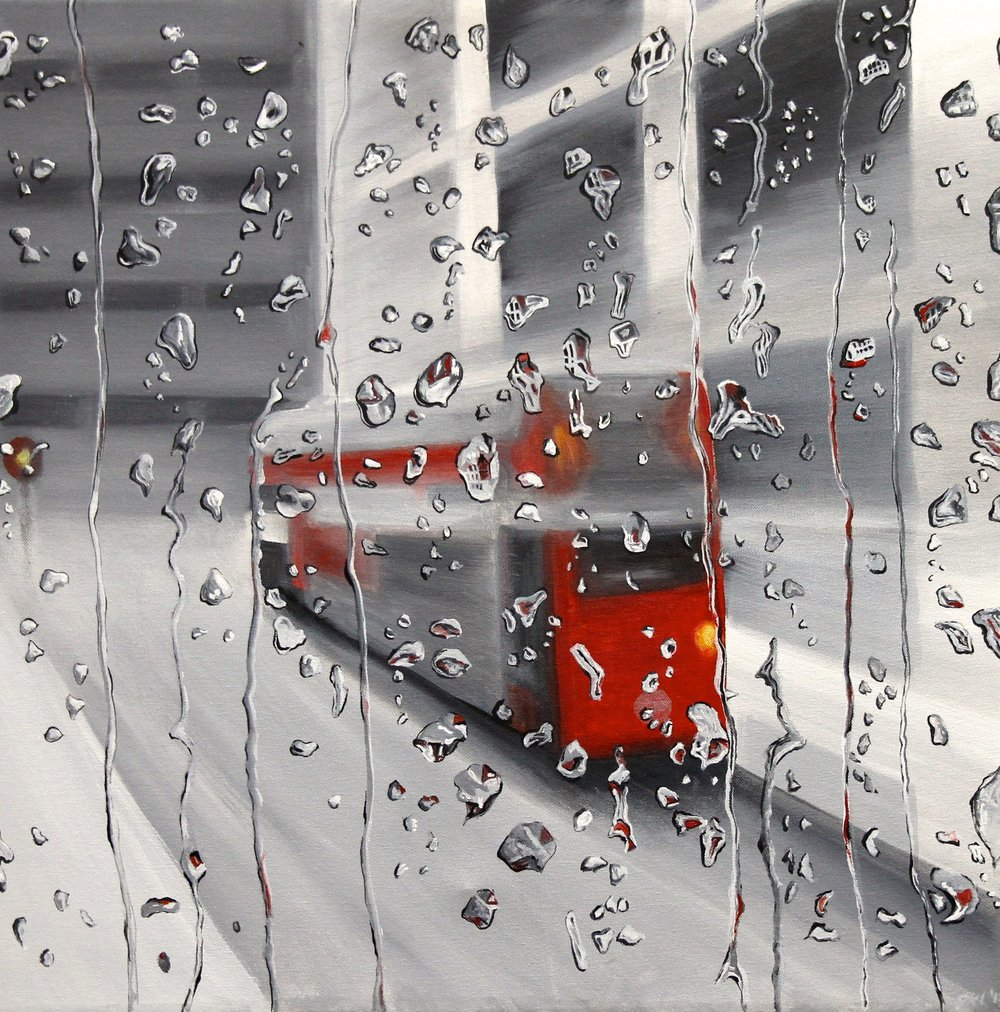 London bus through raindrops, 2013. Acrylic on canvas. 61 x 61 cm