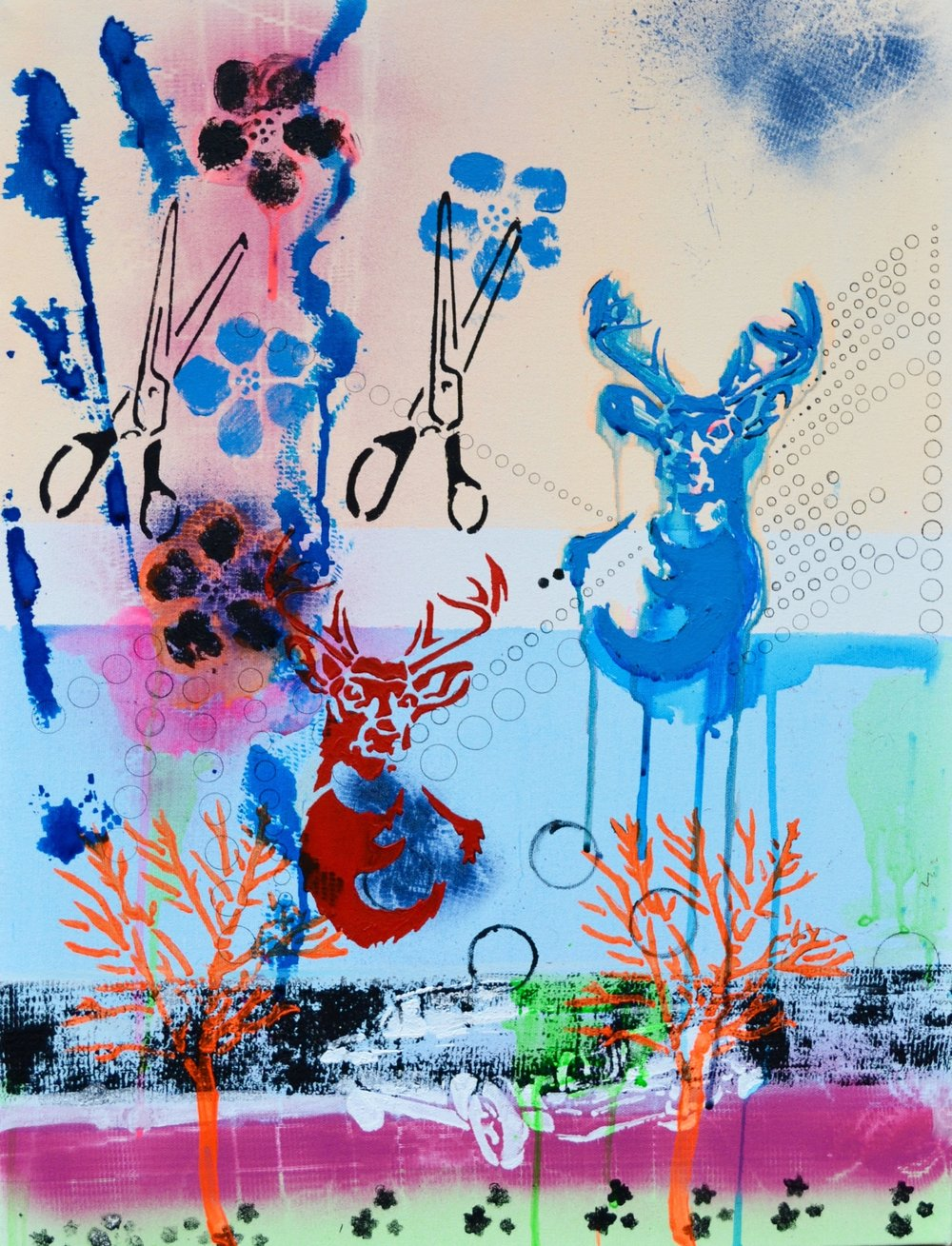 Tag The Stag. Mixed Media on canvas. 46 x 60 cm £750