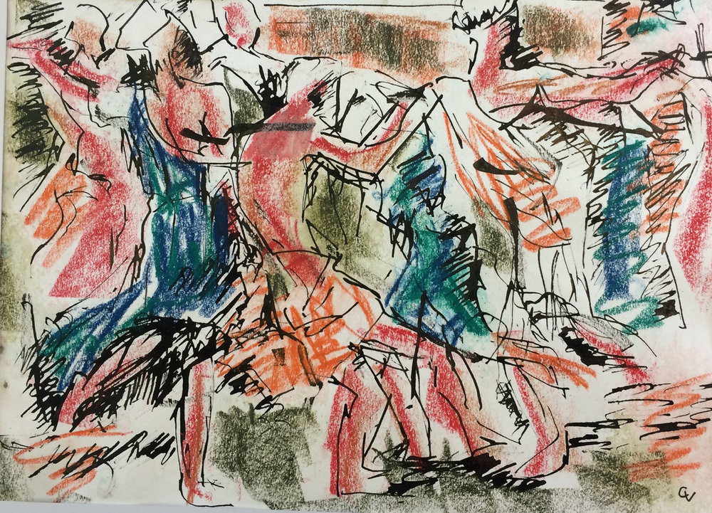 Bacchic Dancers  Ink & Pastel on paper | 40 x 28 cm  £380
