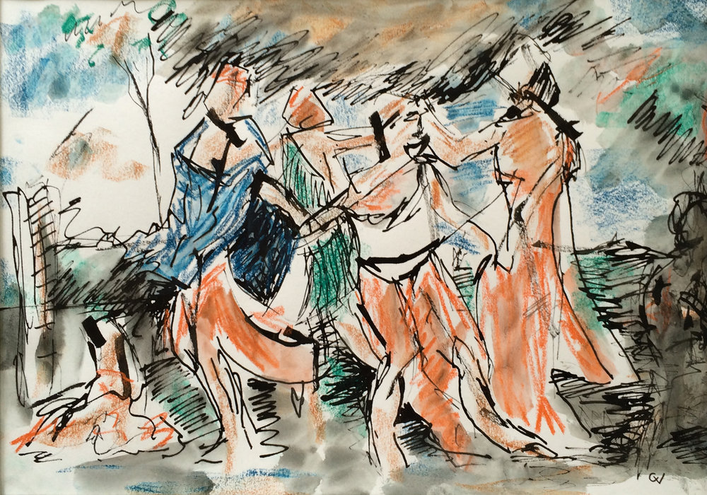 Dance of the Nymphs  Ink & pastel on paper | 40 x 28 cm  £380