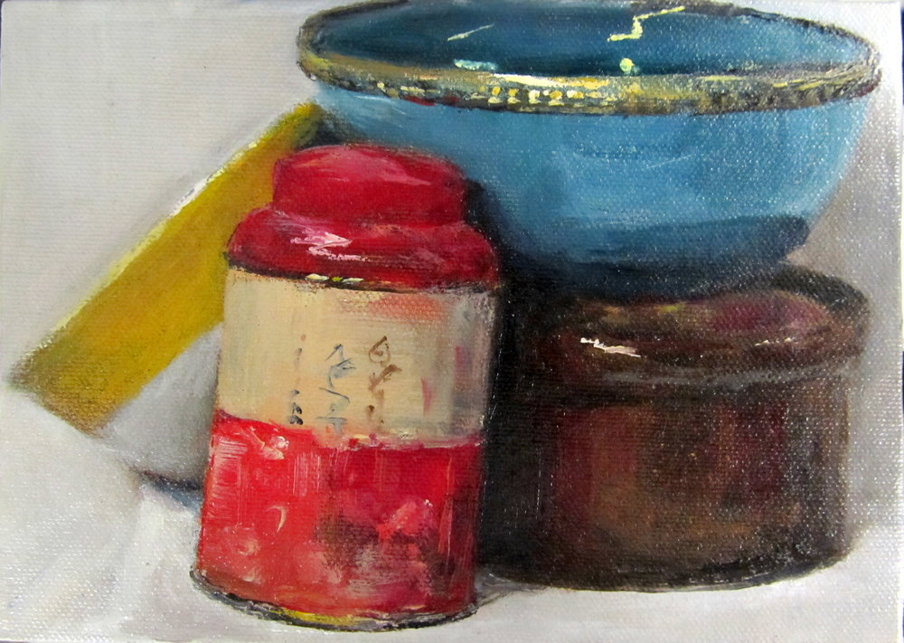 Tea caddy and bowls #2, 2016 Oil on canvas board | 13 x 18 cm £110