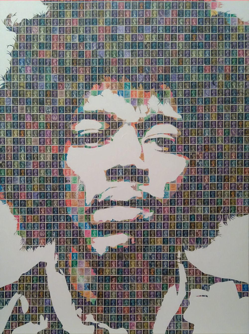 Hey Joe, 2017 Stamps on canvas | 76 x 102 cm SOLD