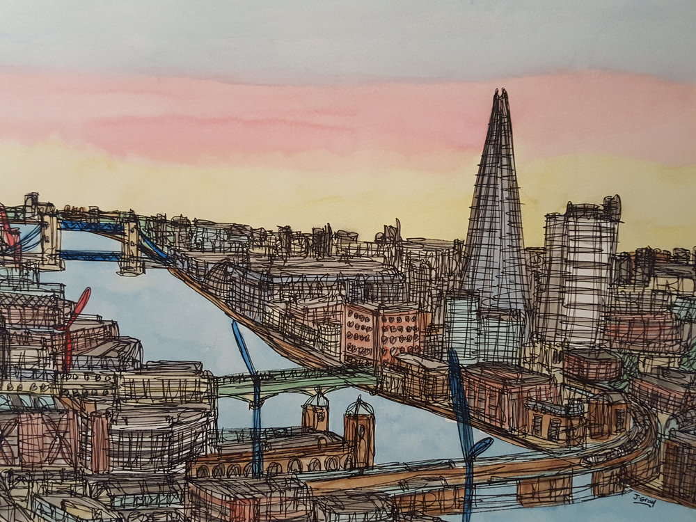 Tower Bridge & The Shard, 2017 Watercolour & Fine liner on paper | 43 x 53 cm SOLD