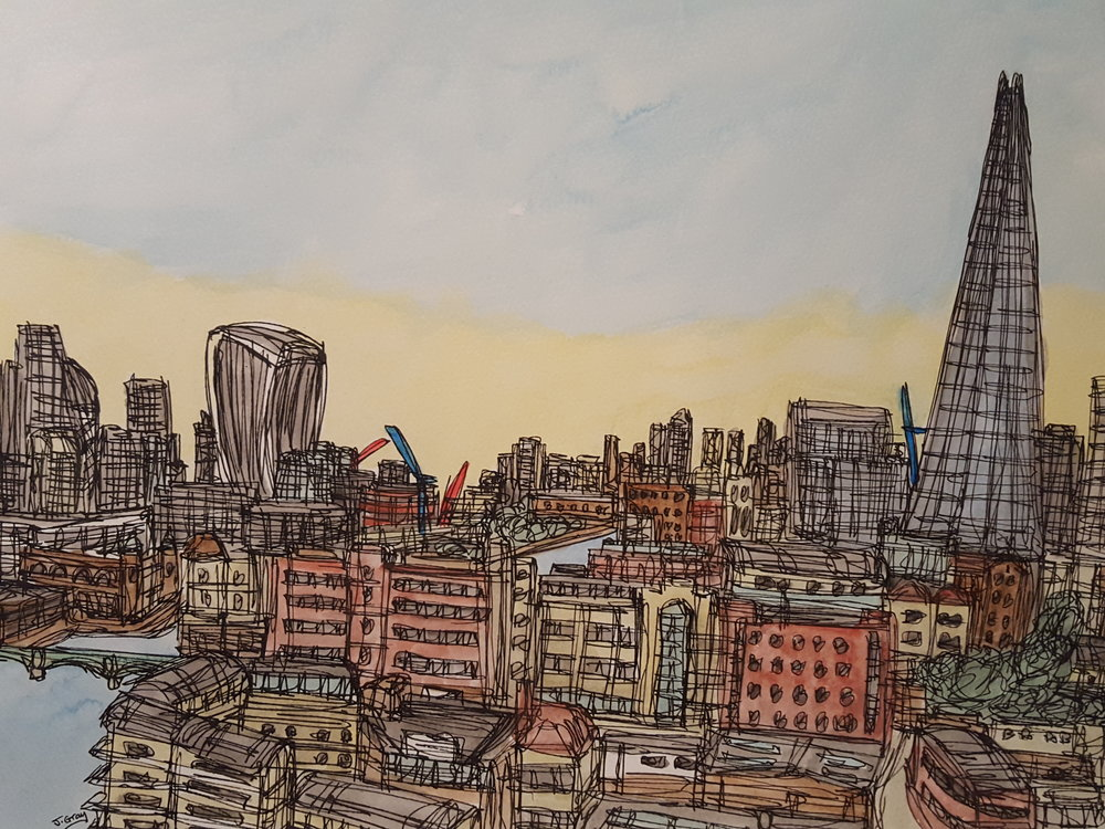 Sunset over London, 2017 Watercolour & Fine liner on paper | 43 x 53 cm £245