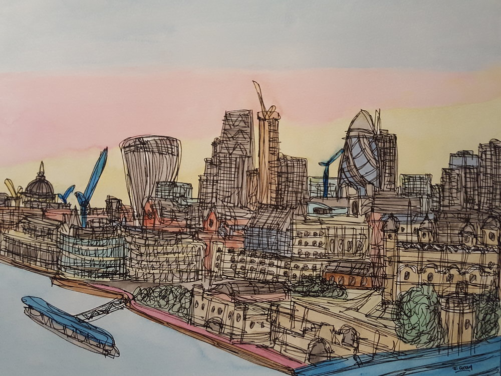 'View from Tower Bridge, 2017 Watercolour & Fine liner on paper | 43 x 53 cm £245