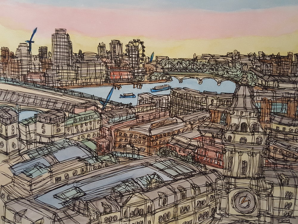 View from St. Paul's, 2017  Watercolour & Fine liner on paper | 43 x 53 cm  £245