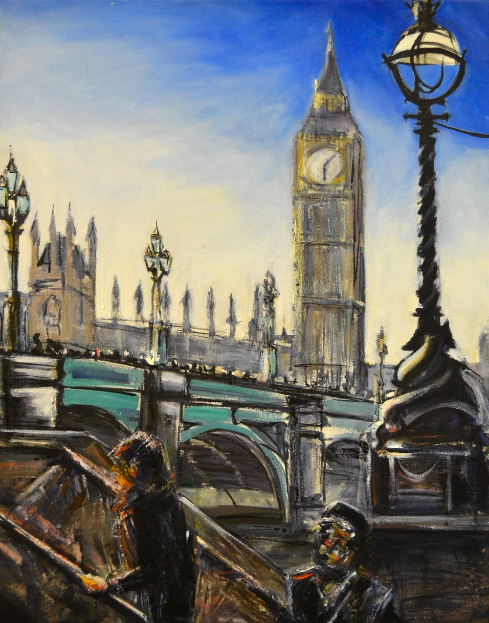 Westminster Bridge Ink & Oil on canvas | 55 x 70 cm SOLD
