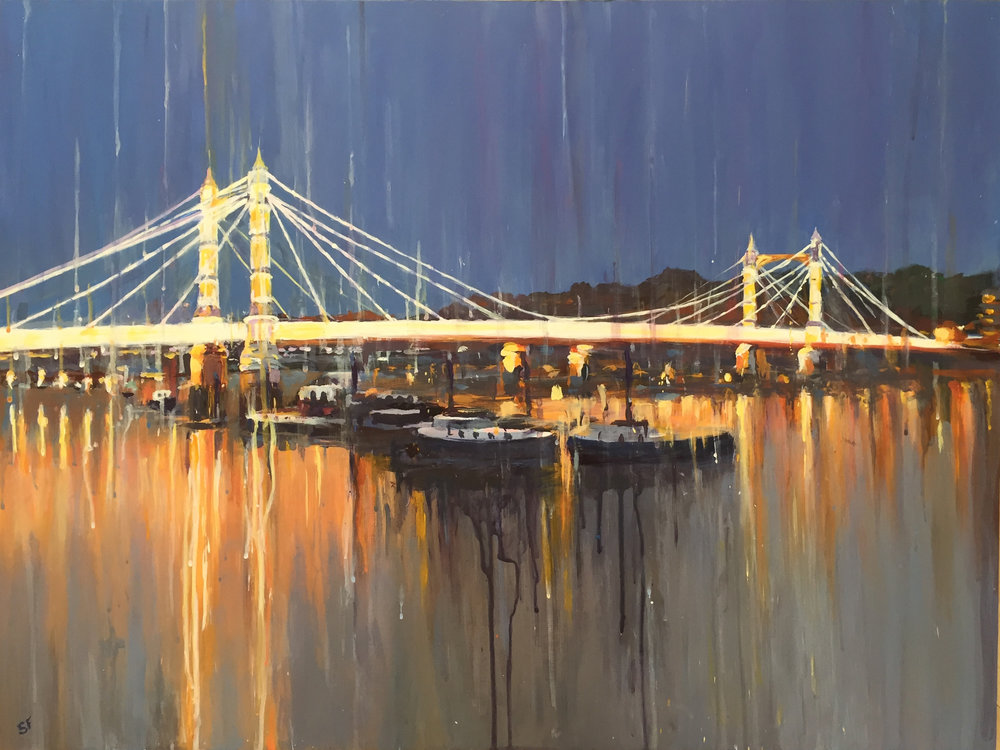 Albert Bridge Lights  Limited Edition Brushed Aluminium Print of 25 | 25 x 22 cm (framed)  £120