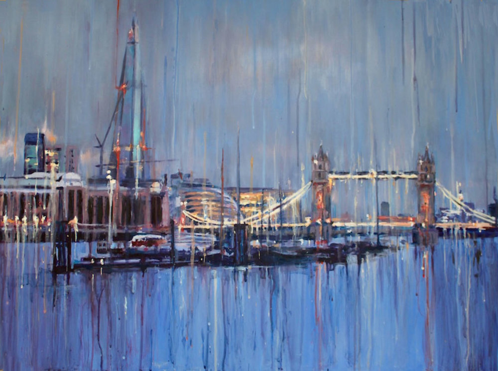 Shard and Tower Bridge Lights Acrylic on aluminium | 80 x 60 cm £795