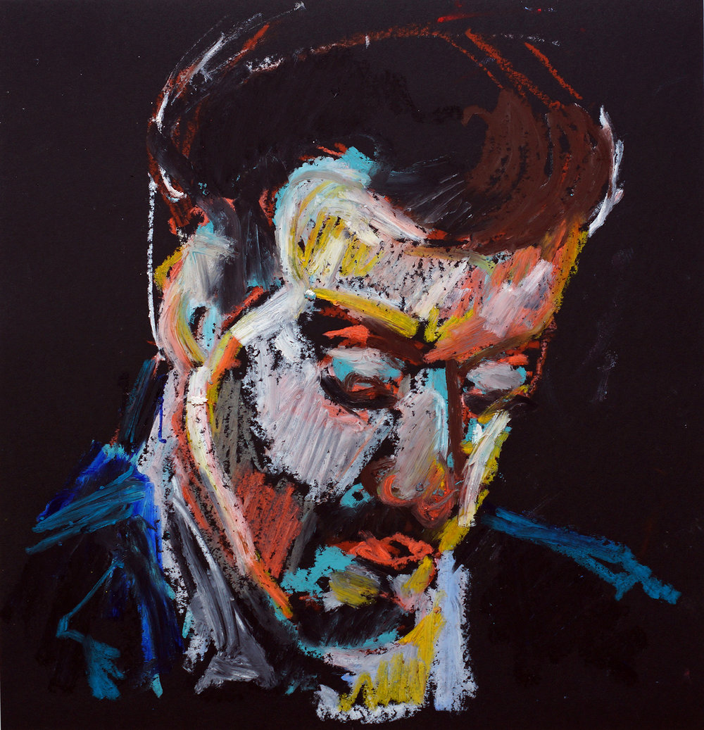 Distant man Oil pastel on black cartridge | 44 x 43 cm (framed) £140