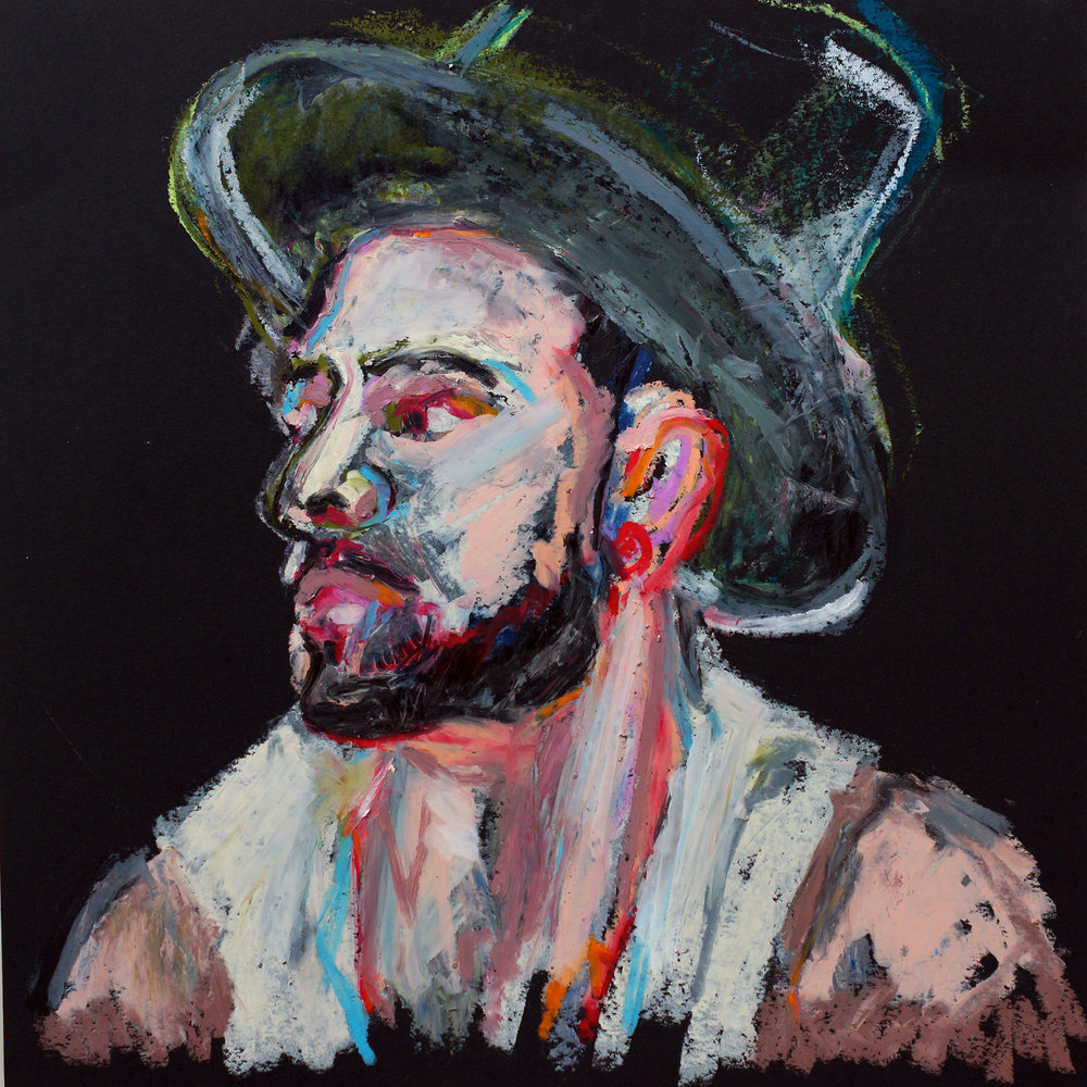 Untitled Man 1  Oil pastel on black cartridge | 44 x 43 cm (framed) £140