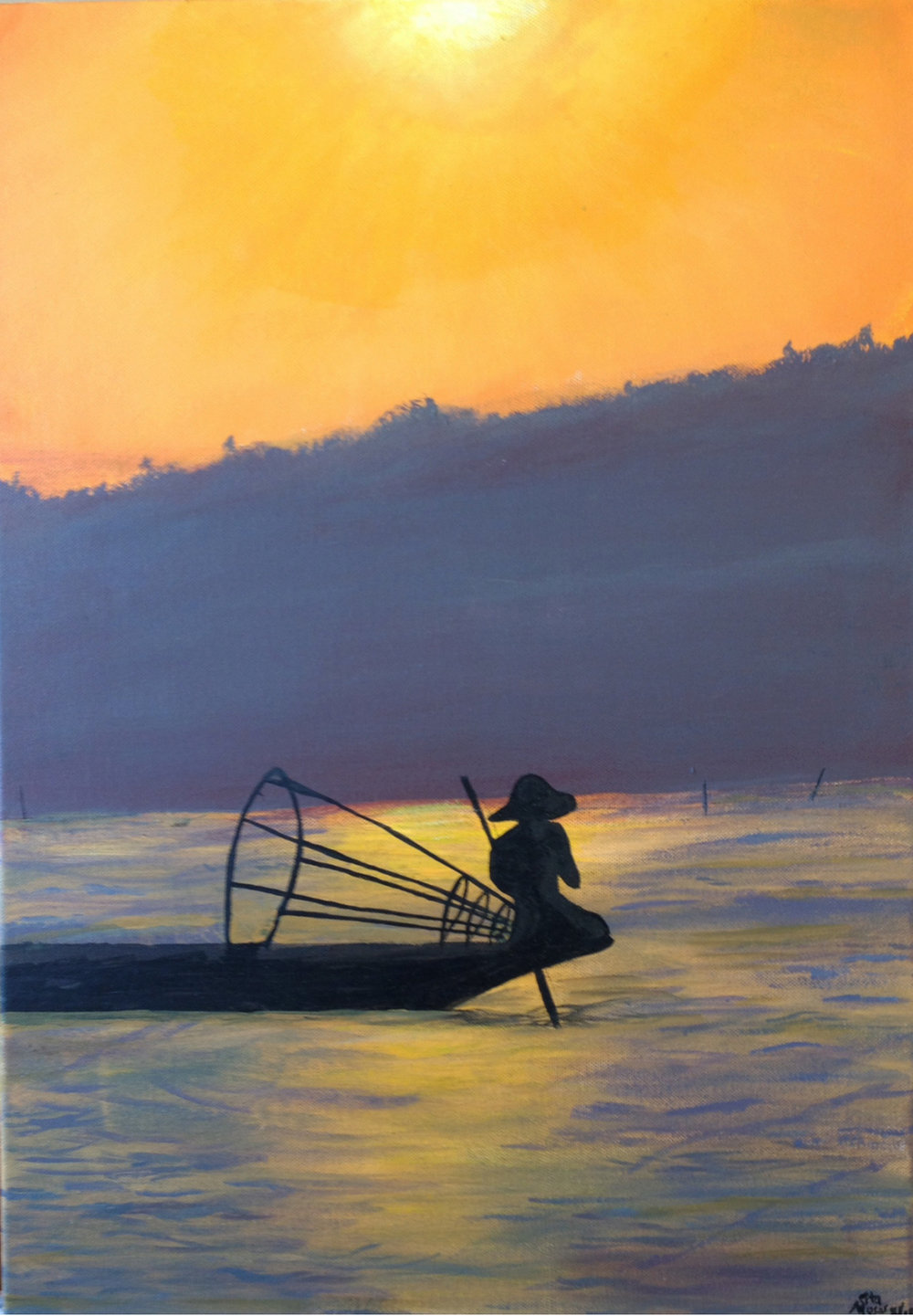 Fishing on lake Inle, Burma Acrylic on canvas | 42 x 59.5 cm £650