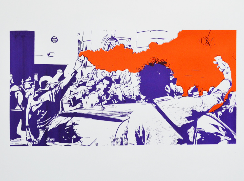 Lambeth Town Hall riot, Spring 2015 Limited edition screen print on Fabriano paper of 12 | 77 x 56 cm £245 framed £95 unframed - 1 left!
