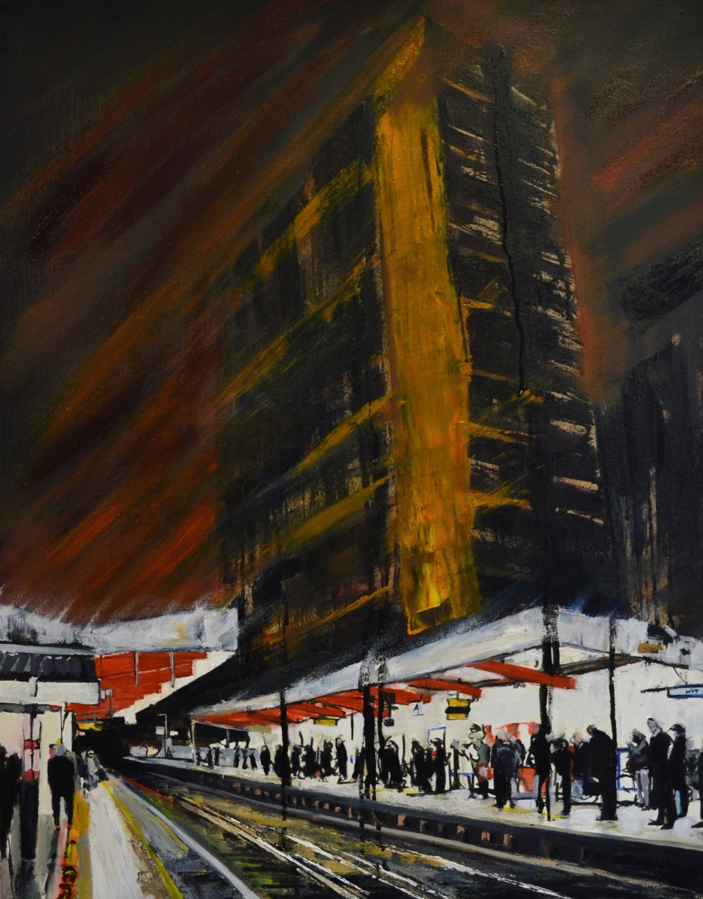 Angry Night, Elephant and Castle Station, 2017 Ink & Oil on canvas | 55 x 70 cm £995
