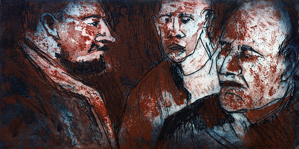 3 Men | Colour Mono Print Aquatint dry point | 63 x 39 (framed) | £215