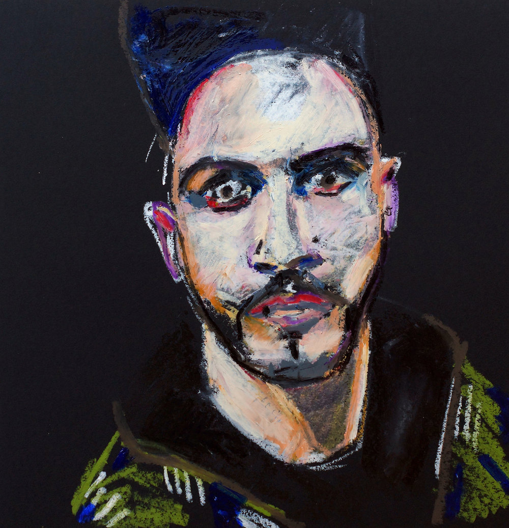 Alessandro | Oil pastel on black cartridge | 44 x 43 cm (framed) | £140
