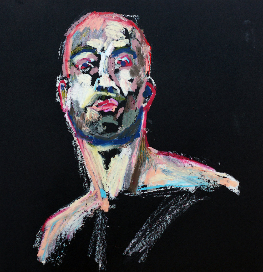 Untitled Man 2 | Oil pastel on black cartridge | 44 x 43 cm (framed) | £140
