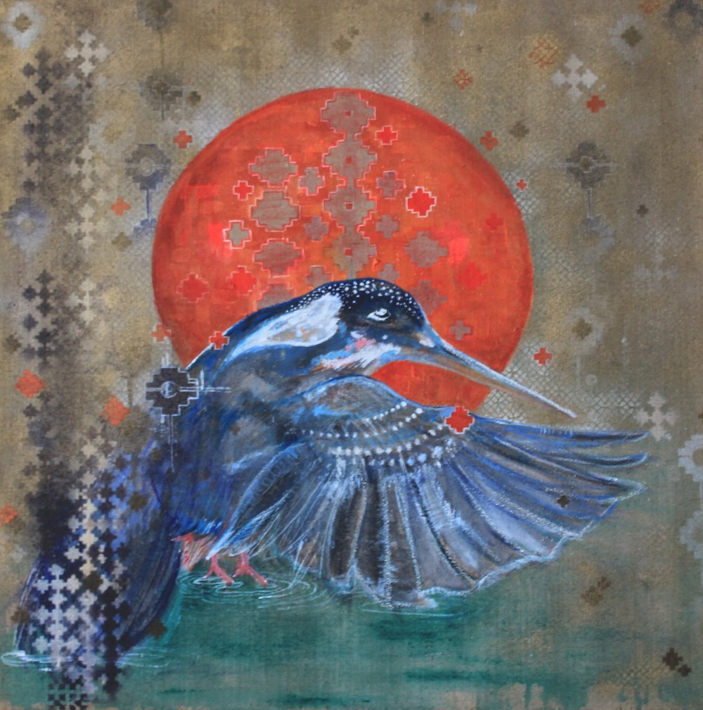 Visions of the Kingfisher, 2016 | Mixed media on raw canvas | 100 x 100cm | £600