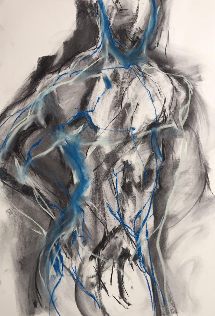 Blue Motion, 2017   Charcoal & Pastel on Paper |  74 x 99 cm   £850 (framed)