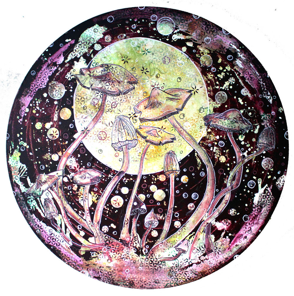 Purple Gazing, 2015  Mixed Media on Canvas | 120 cm Diameter  £1,200