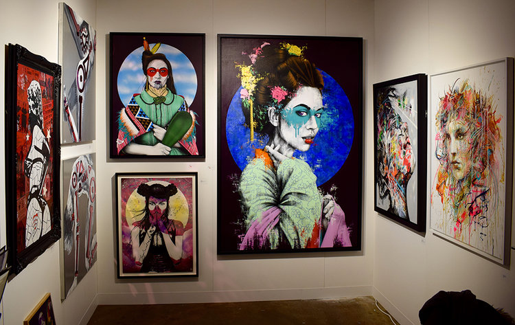 Fin DAC's hauntingly beautiful Japanese inspired paintings presented at the Jewel Goodby stand.