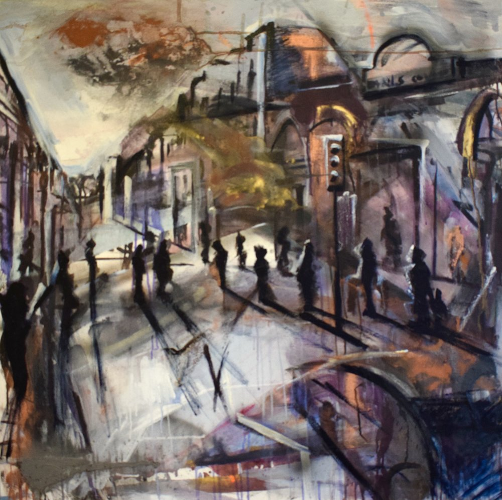 Crossing. Mixed Media on canvas. 1 x 1m £2000, Tom Cox + Judith Brenner.jpg