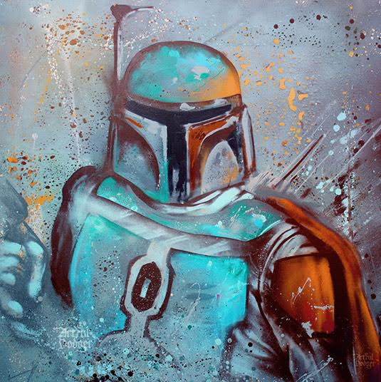 Boba Fett, 2015    Spray-paint on canvas | 100 x 100 cm | £1,800