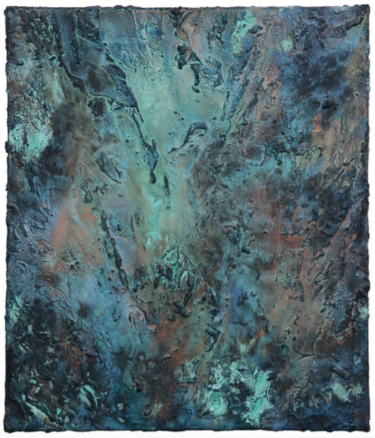 Crevasse    Acrylic paint & corroded copper on canvas | 70 cm x 60 cm | £1,400