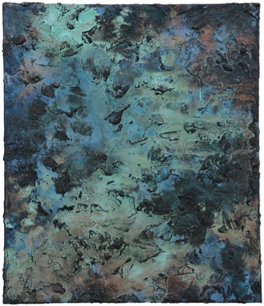 Copperblue II    Acrylic paint & corroded copper on canvas | 70 cm x 60 cm | £1,400