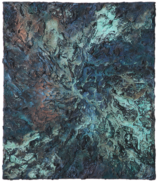 Copperblue I    Acrylic paint & corroded copper on canvas | 70 cm x 60 cm | £1,400