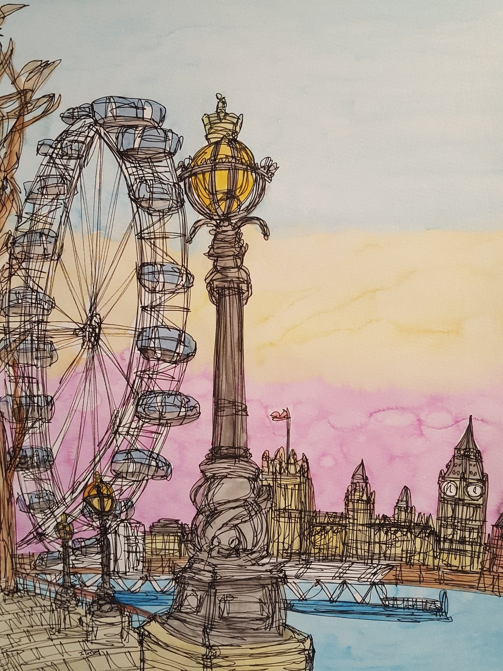 Sunset over the London Eye, 2017    Watercolour & Fine liner on paper | 43 x 53 cm | £345