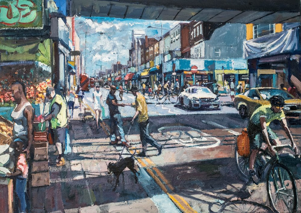 South London Street Life, 2017    Oil on canvas | 53 x 73 cm | £2,450